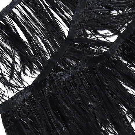 Black Baoblaze 1 Yard Ostrich Feather Trim Fringe Ribbon Tape Sewing Crafts DIY Fascinator 4-6