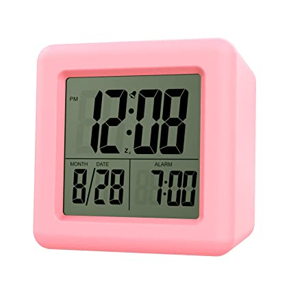 MoKo Digital Alarm Clock, Wake Up Alarm Table Bedside Clock LCD Display Battery Powered Small