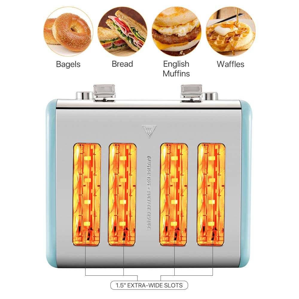 Gohyo 4 Slice Toaster 100% Stainless Steel with Wide Slots & Removable Crumb Tray for Bread & Bagels (Blue)