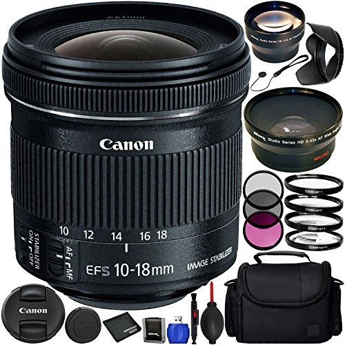 Canon EF-S 10-18mm f/4.5-5.6 IS STM Lens Bundle with Manufacturer Accessories & Accessory Kit for EOS 7D Mark II, 7D, 80D, 70D, 60D, 50D, 40D, 30D, 20D, Rebel T6s, T6i, T5i, T4i, SL1, T3i, T6, T5, T3