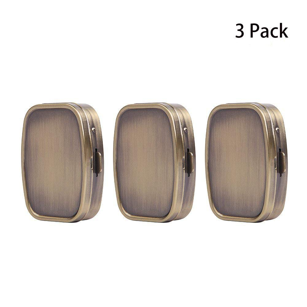 LazyMe Decorative Pill Box, Cute Size for Purse Metal Locking Small Daily Case (3, Rectangle)