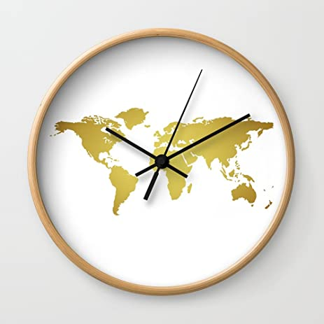 Amazon society6 gold foil world map on white background wall society6 gold foil world map on white background wall clock natural frame black hands gumiabroncs Images