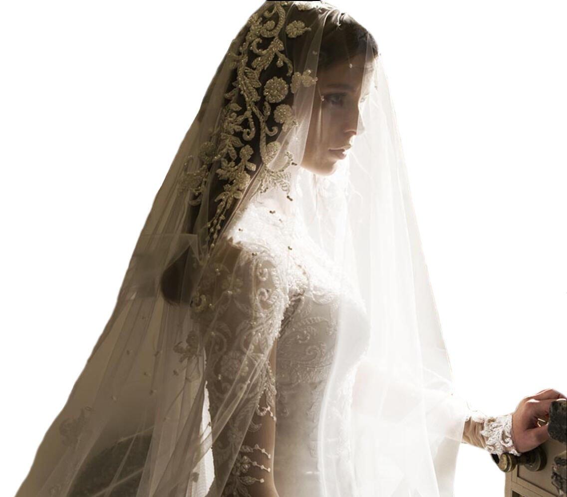 Passat Diamond White Single-Tier 36'' Fingertip Length mantilla wedding veil with Beaded Design DB66 by Passat