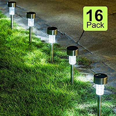 GIGALUMI 16 Pack Solar Path Lights,Solar Lights Outdoor Garden Led Light Landscape/Pathway Lights for Patio/Lawn/Yard/Driveway/Walkway (Stainless Steel)
