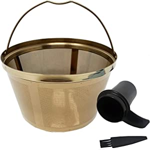 GOLDTONE Stainless Steel Coffee Filter - 8-12 Cup Basket Reusable Metal Filter for Mr. Coffee and Black and Decker Machines - Includes Scoop and Brush
