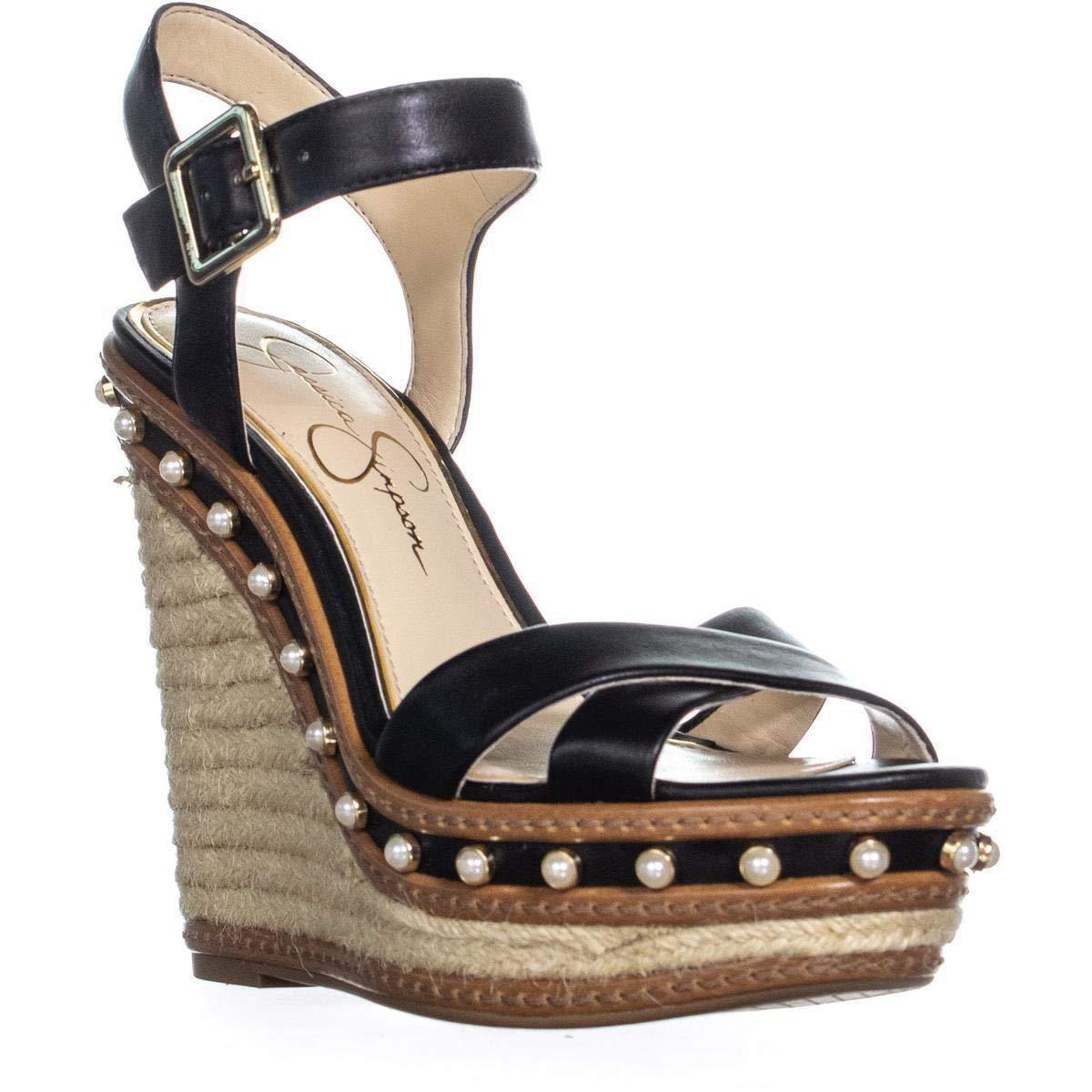 Black Jessica Simpson Aeralin Wedge Slingback Sandals, Black