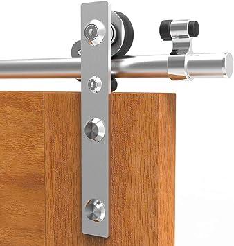 183CM/6FT Herraje para Puerta Corredera Acero Inoxidable Kit de Accesorios, Guia Riel Puertas Correderas, Para puertas de madera: Amazon.es: Bricolaje y herramientas