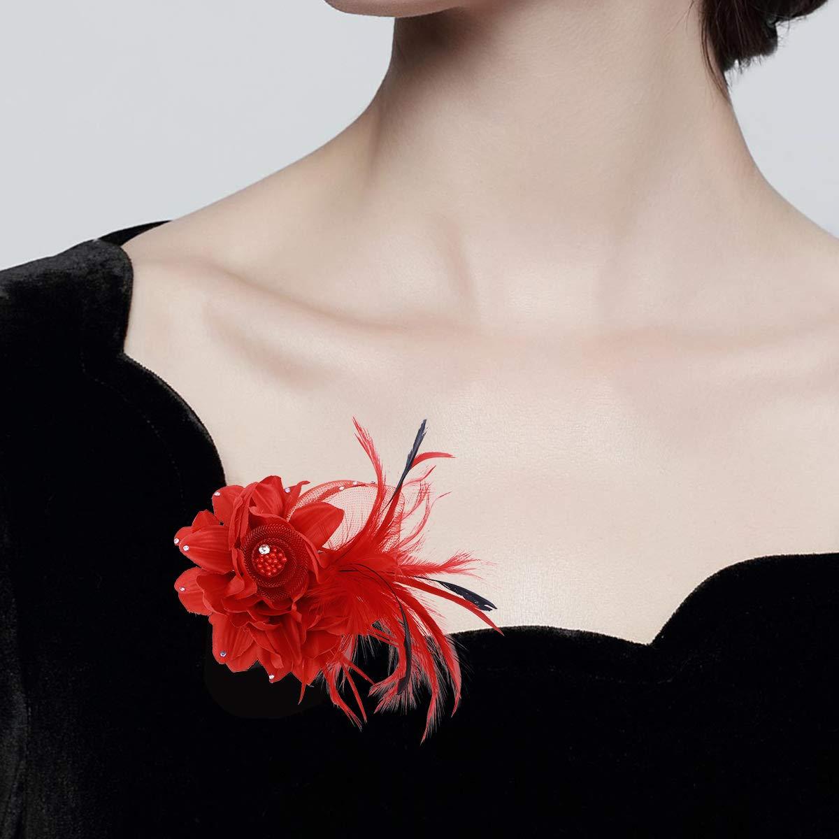 Damen Mädchen Braut Blume Stirnband HaarClip Feder Barrette Brosche Pin!