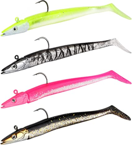 Swim Silicone Lead Jig Head Worm Barbed Hook Artificial Soft Bait Fish Eel Lure
