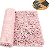 HomDSim 18x28 inches with 4 Non-Slip Pad Shaggy Bathroom Bath Shower Rugs Mat Carpet Soft Chenille Plush Absorbent Microfiber for Laundry Room Kitchen Livingroom Hallway Bedroom Floor Blanket Washable