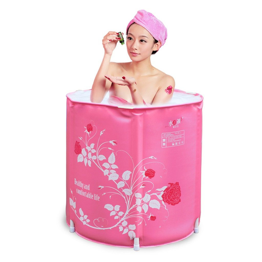 Foldable inflatable bathtub Household tub adult infant child bath tub Durable dirt/adjustable height/easy to fold Pink (6565cm) (Color : Without cover)