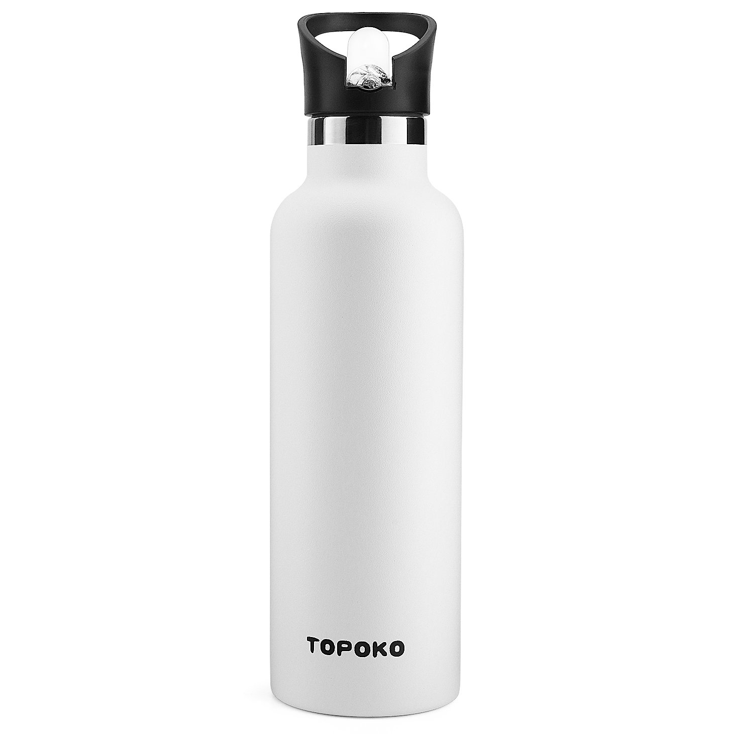 25 OZ Vacuum Insulated Stainless Steel Double Wall, Sweat Proof, Leak Proof Thermos Hot Cold Water Bottle/Wide or Small Mouth, Vacuum Seal Cap, Reusable Travel Mug. (Piano White)