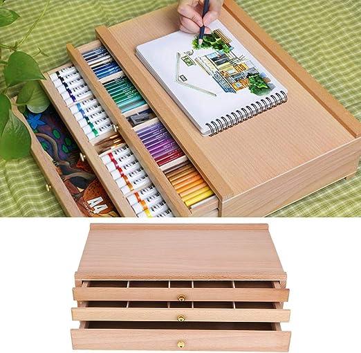 Caja de dibujo de escritorio, multifuncional Artista de madera ...