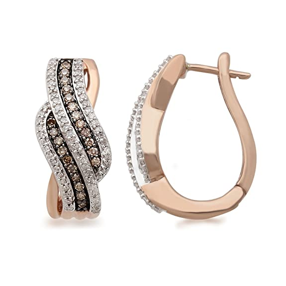 Bevilles 9ct Rose Gold Cognac Earrings with 0.50ct of Diamonds Hoop