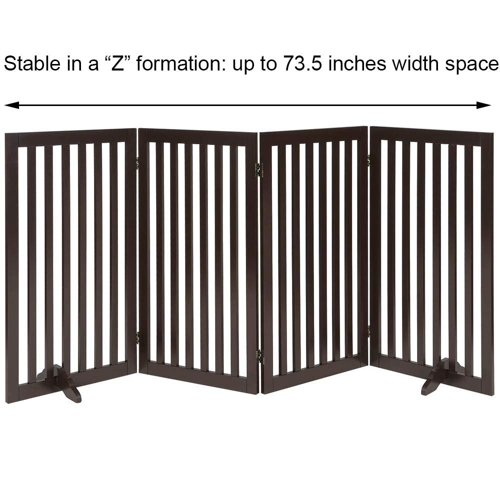 Total Win Sturdy Wooden Structure Foldable Design Assembly-free | Up to 80 Wide Freestanding 36 Tall Dog Gate w// Support Feet Espresso