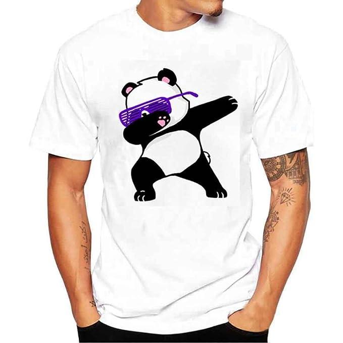 K-youth Camiseta Hombre, Gato de Gafas Camiseta para Hombre tee Cuello Redondo Tops Camisetas Ropa Hombre Deportiva 2018 Ofertas