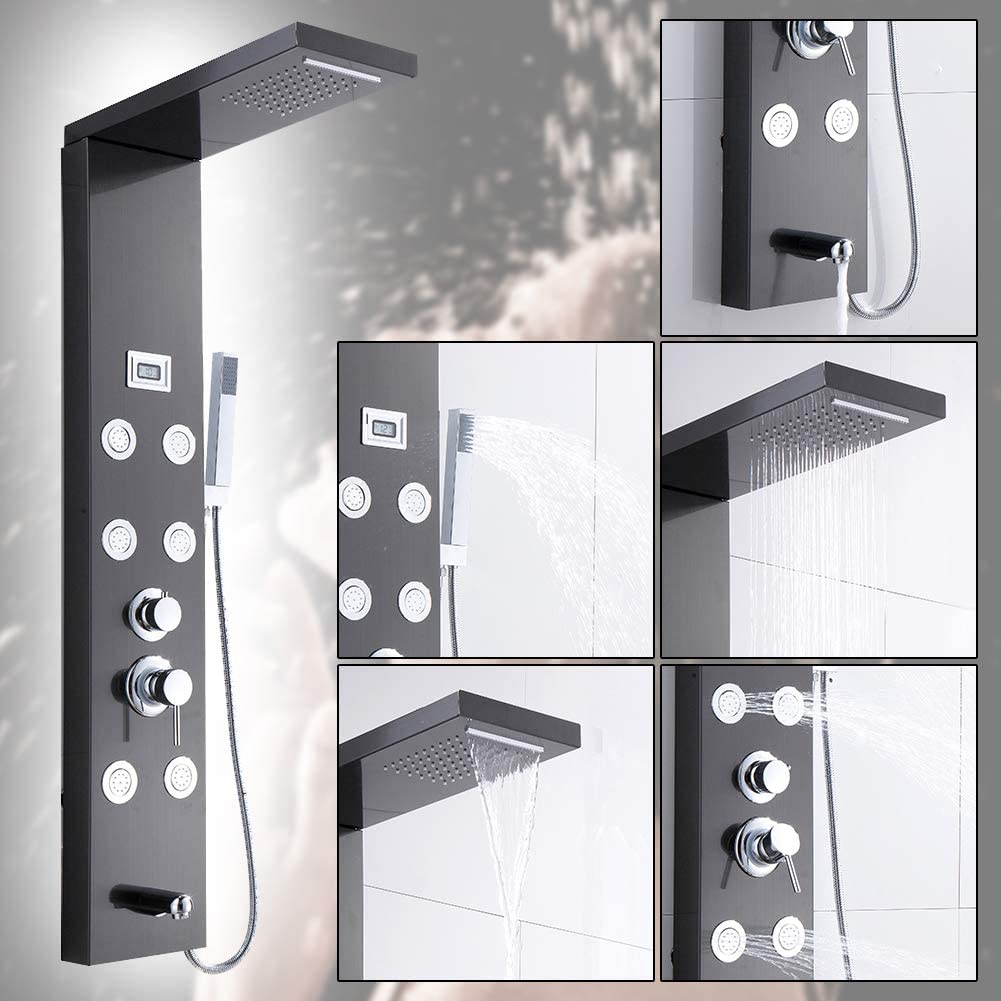 sococo Stainless Steel Rainfall Waterfall Shower Panel Tower Rain Massage System with LCD Temperature Display Hand Shower,Brushed Black