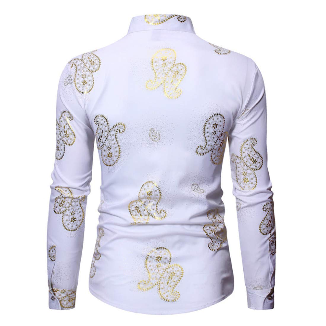 Mens Floral Shirts Gold Printed Slim Fit Long Sleeve Button Down Shirts
