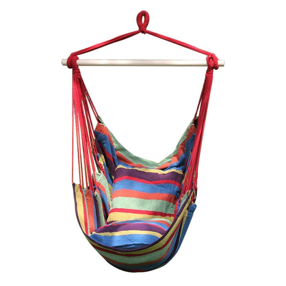 Soft Cushioned Hammock Swing Chair, Hanging Rope Hammock Chair Porch Swing Seat, Large Wide Seat Hammock Net Chair, Cotton Portable Leisure Swing Chair w/ 2 Seat Cushion for Indoor Outdoor Garden Yard WElinks