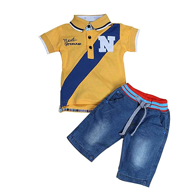 a9df303ca9 Mengonee Kid Boy Manga Corta del Polo del Vaquero Camiseta de la Camisa de  los Pantalones Vaqueros de la Ropa del Juego Equipos Camisa de Verano   Amazon.es  ...