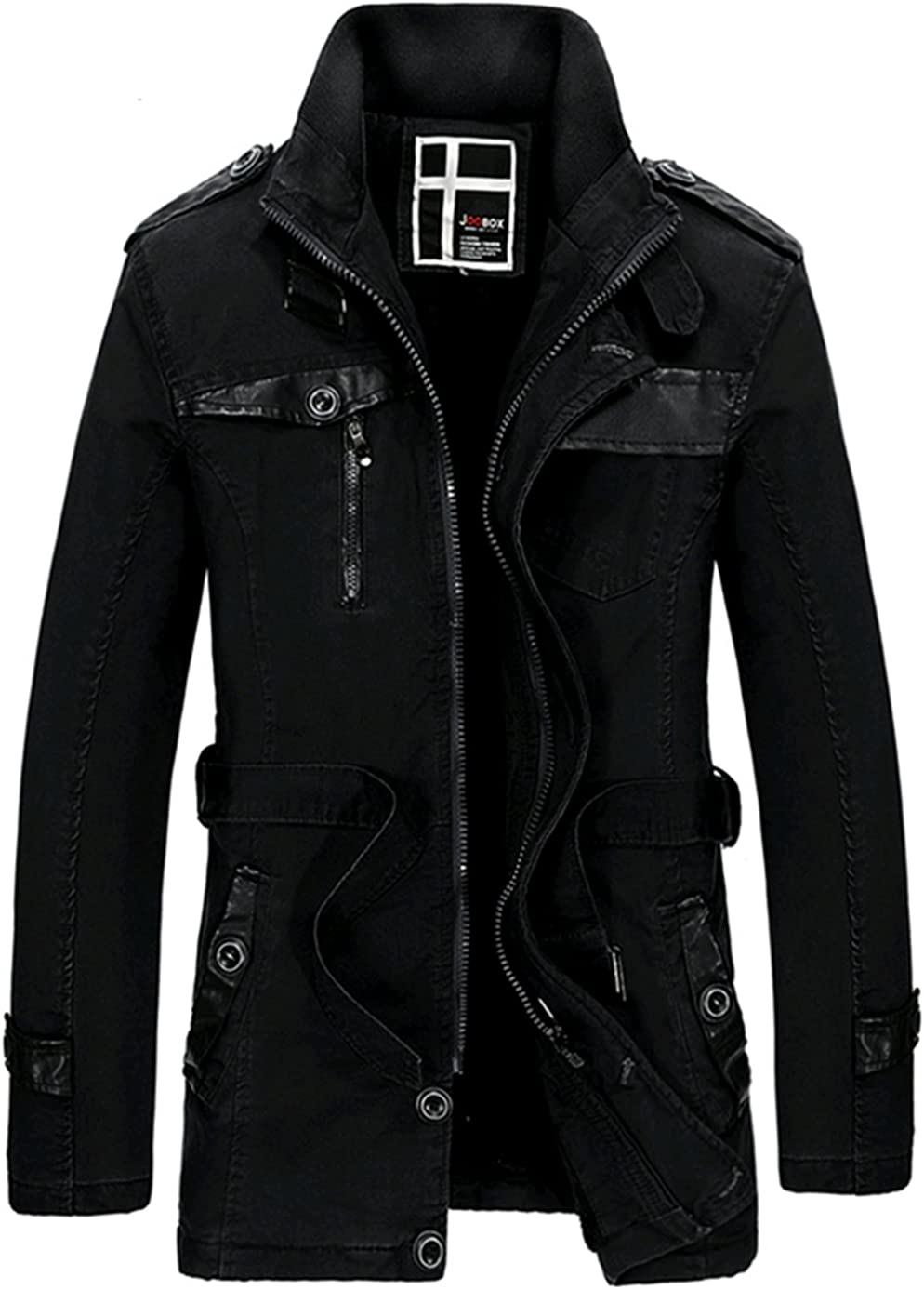 K3K Winter New Men Stand Collar Faux Fur Lined Long Trench Coats