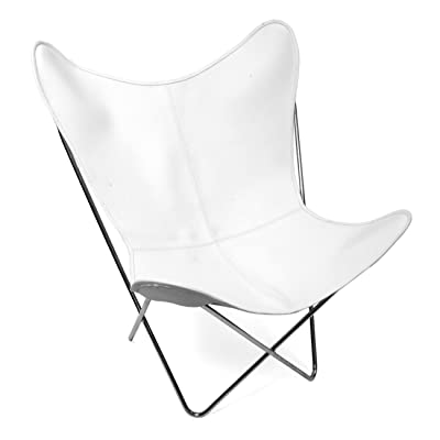 Classic Cover Cowhide Leather BKF Butterfly Chair   Only Cover. (WHITE)