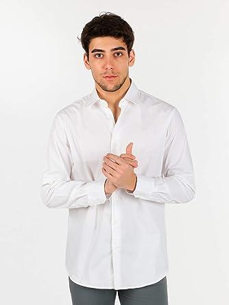 Uvaspina - Camisa Blanca de Manga Larga para Hombre de algodón Bianco L: Amazon.es: Ropa y accesorios