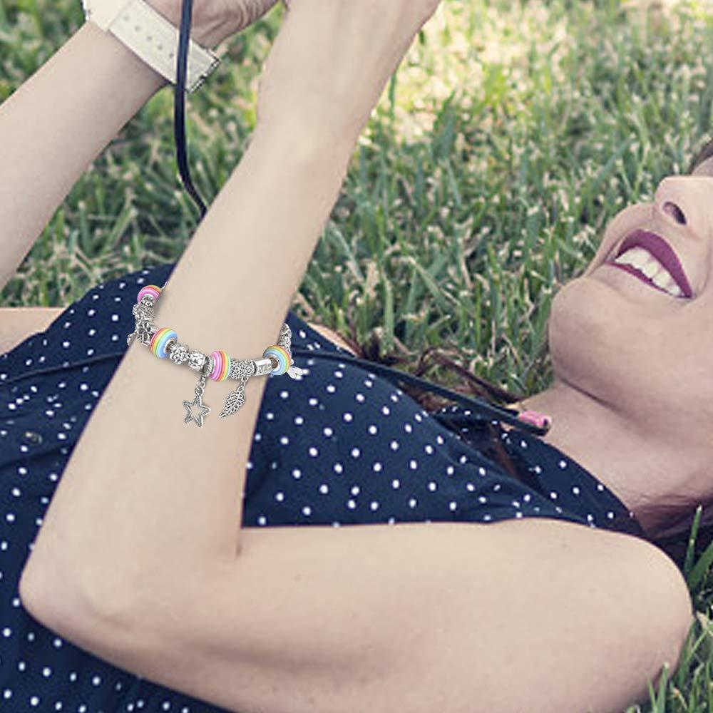 Sun studio Charm Armband Kit DIY Schmuck Bastelset mädchen Handwerk Perle überzogen mit Silber Kette schmuck mädchen für Basteln (# 1)