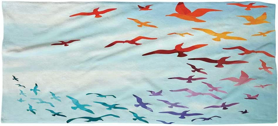 Iprint Large Cotton Microfiber Beach Towel Birds Colorful Illustration Of Flying Birds Against Clear Sky Sunny Day Cheerful Modern Art Red Blue For Kids Teens And Adults Amazon Co Uk Kitchen Home