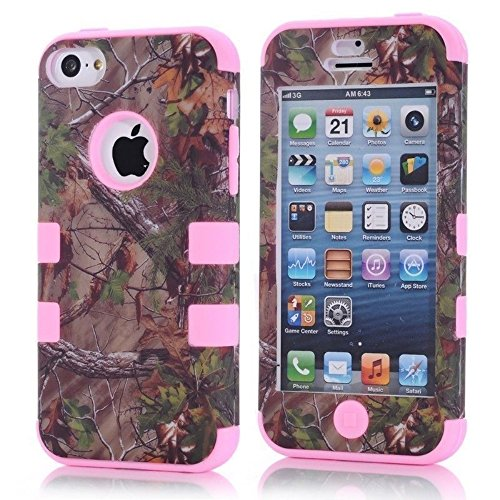 For iphone 5c Case,Kecko(TM) Defender Body Armor Realtree Camo High Impact Tough Silicon Rubber Military Rugged Protective Case with Camouflage Wood Design for iphone 5C Only (Bird Pink)