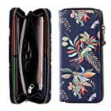 Women's Large Wallet Lady Long Clutch Purse Credit Card Holder with Wristlet Strap for Organizing Cash and Phone (Fantastic selva)