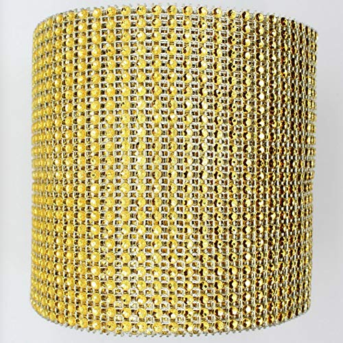 (Mikash Diamond Rhinestone Ribbon Mesh Wrap Wedding Party Floral Decorations Supplies | Model WDDNGDCRTN - 24725 | 4.5 x 1 Yard)