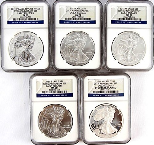 2011 Various Mint Marks Silver Eagle 25th Anniversary Set ER PF70