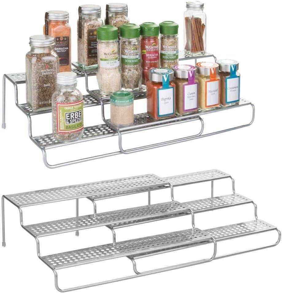 MetroDecor mDesign especiero Extensible Paquete de 2 Estante para Especias id/óneo como Organizador de condimentos o Salsas De Metal con Acabado en Plata