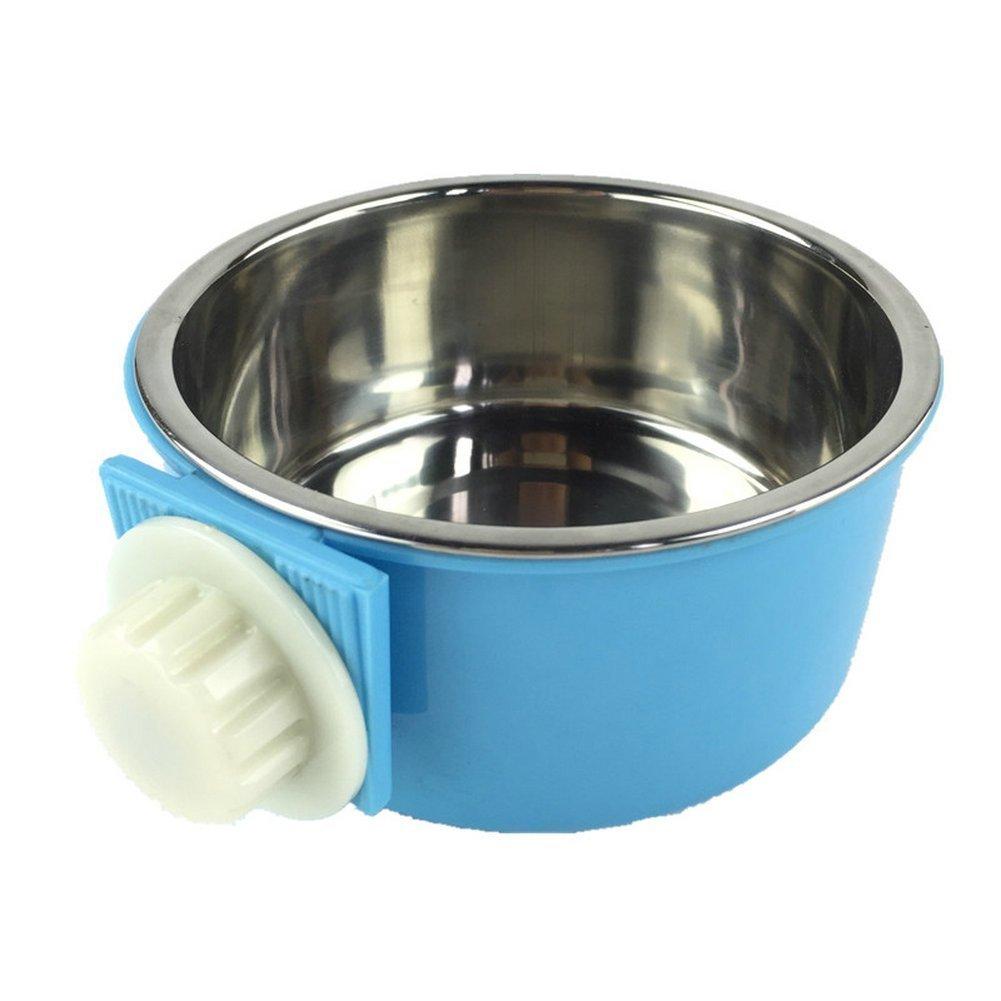 ma-on 2in 1in acciaio INOX alimentare acqua ciotola per cane gatto appeso gabbia (blu)