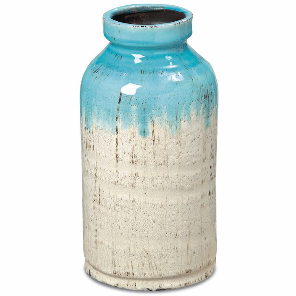 Whole House Worlds The Beach Chic Vase, Turquoise Blue And Cream Ombre, Artisinal Rustic Crackle Finished Glaze, Hand Rubbed, Distressed Stoneware, Milk Bottle Shape, 11 Inches Tall, by