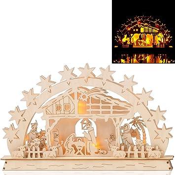 SSITG Luz Arco pesebre arco Navidad Decorar ventanas Navidad Madera ...