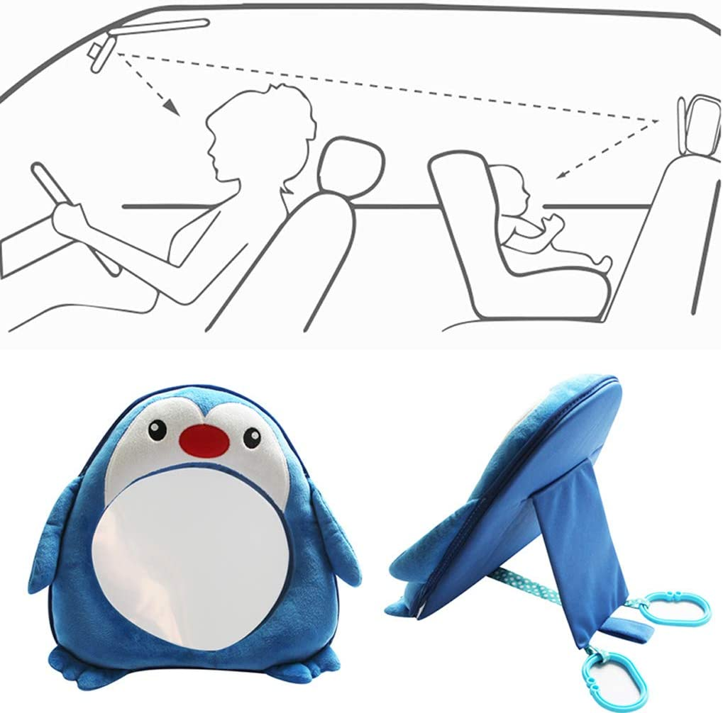 Cute Penguin Baby Rear Facing Mirrors Safety Car Back Seat Easy View Mirror For Kids Toddler Lyguy Baby Rear Facing Mirrors