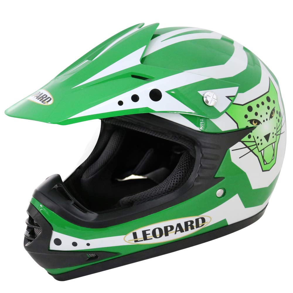 Leopard LEO-X19 {Orange Kinder Motorrad Helm XL 55cm Handschuhe XL-8cm} Kinder Motorradhelm Full Face MX Helmet M/ädchen Jungen Dirt Bike