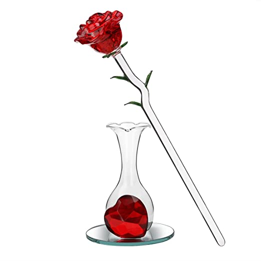 ROSENICE Crystal Red Rose Flower in Glass Vase with Heart Shape Decoration for Birthday, Anniversary