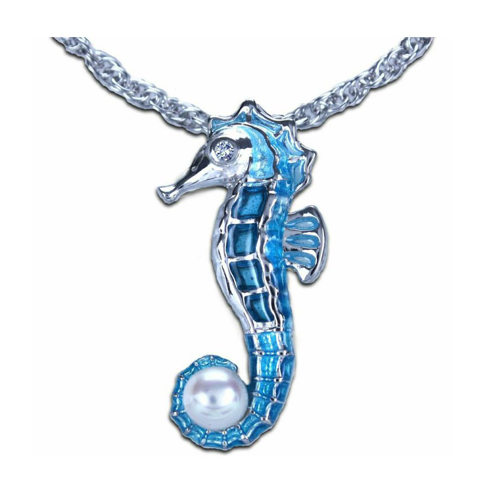 Guy Harvey Enameled Seahorse Necklace Sterling Silver with 18'' Chain by Guy Harvey Jewelry
