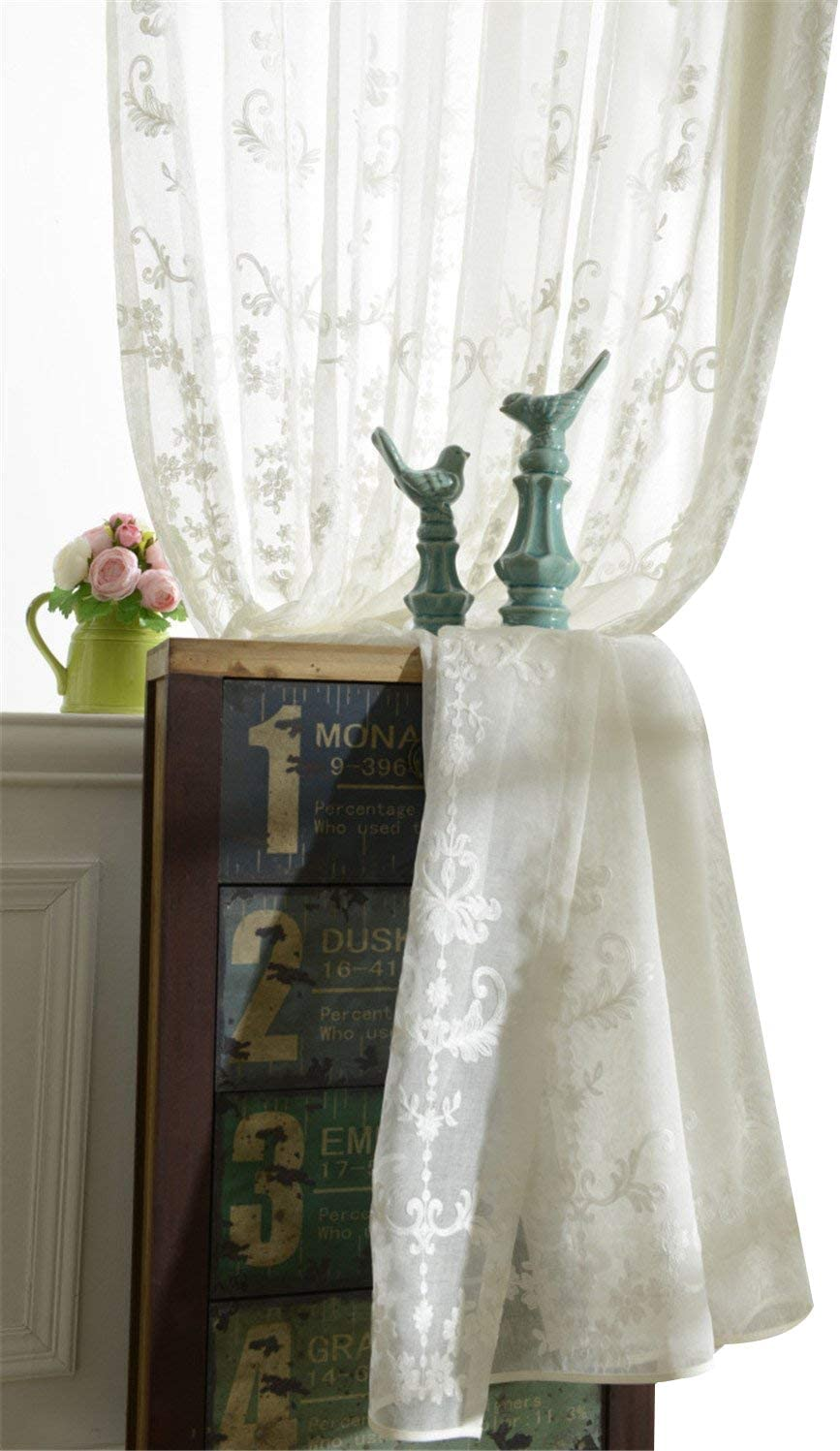 Lace Voile Curtain Panel Embroidery Pelmets Adorn White Divider French Country