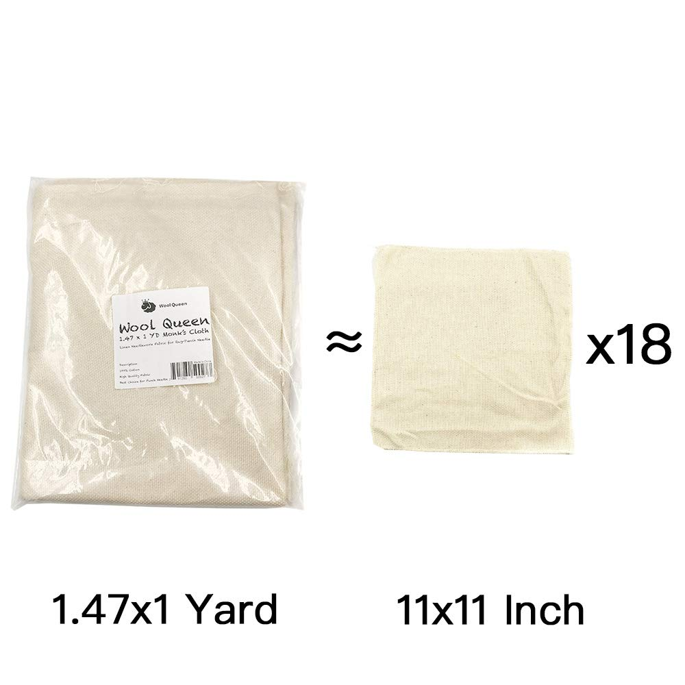 Monks Cloth 11x11 for Rug-Punch /& Pinch Needle Wool Queen 6 Pieces Linen Needlework Fabric
