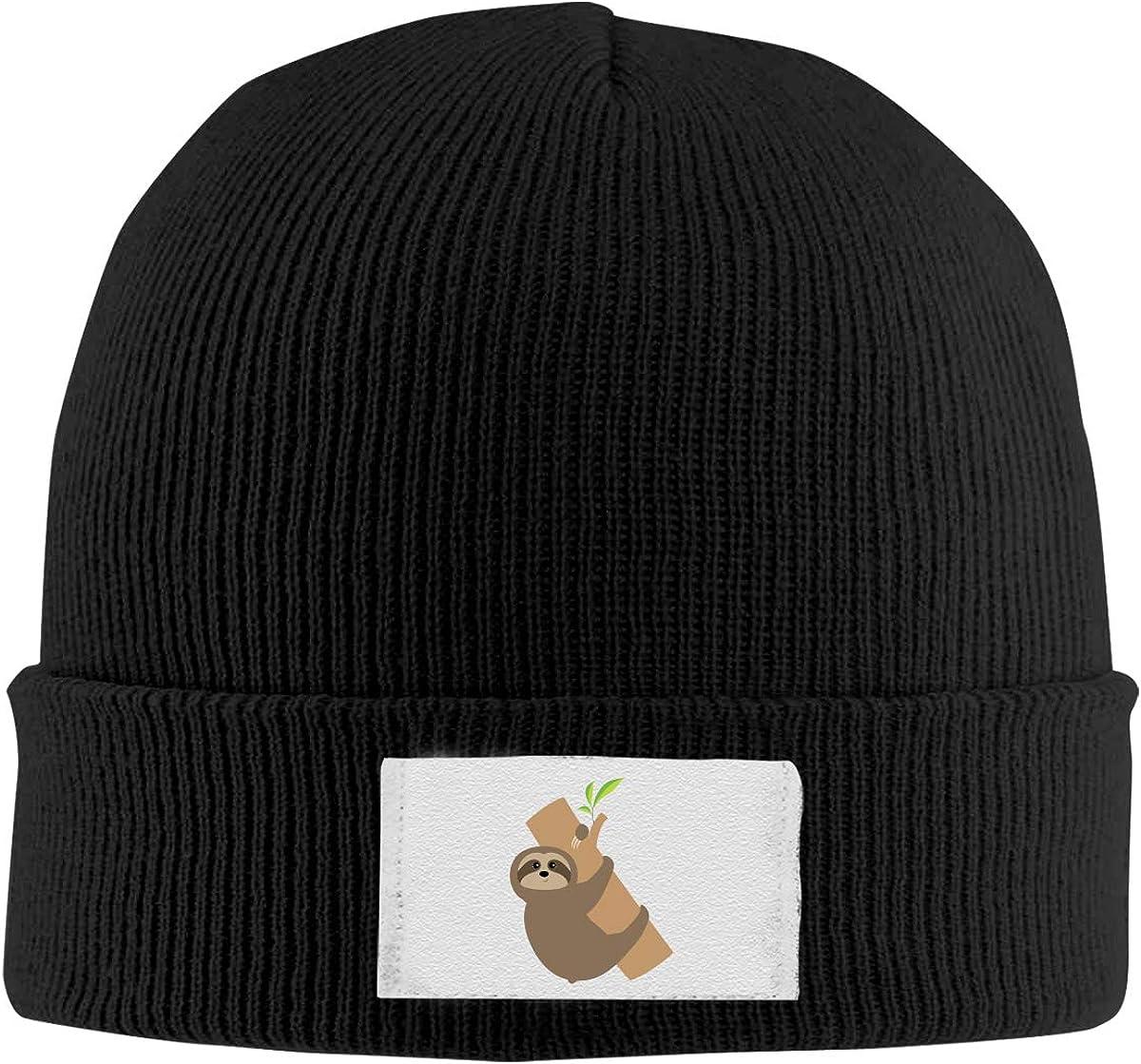 Sloth Lying On Tree Men Women Soft Beanie Hats Knit Warm Fleece Lined Skull Cap