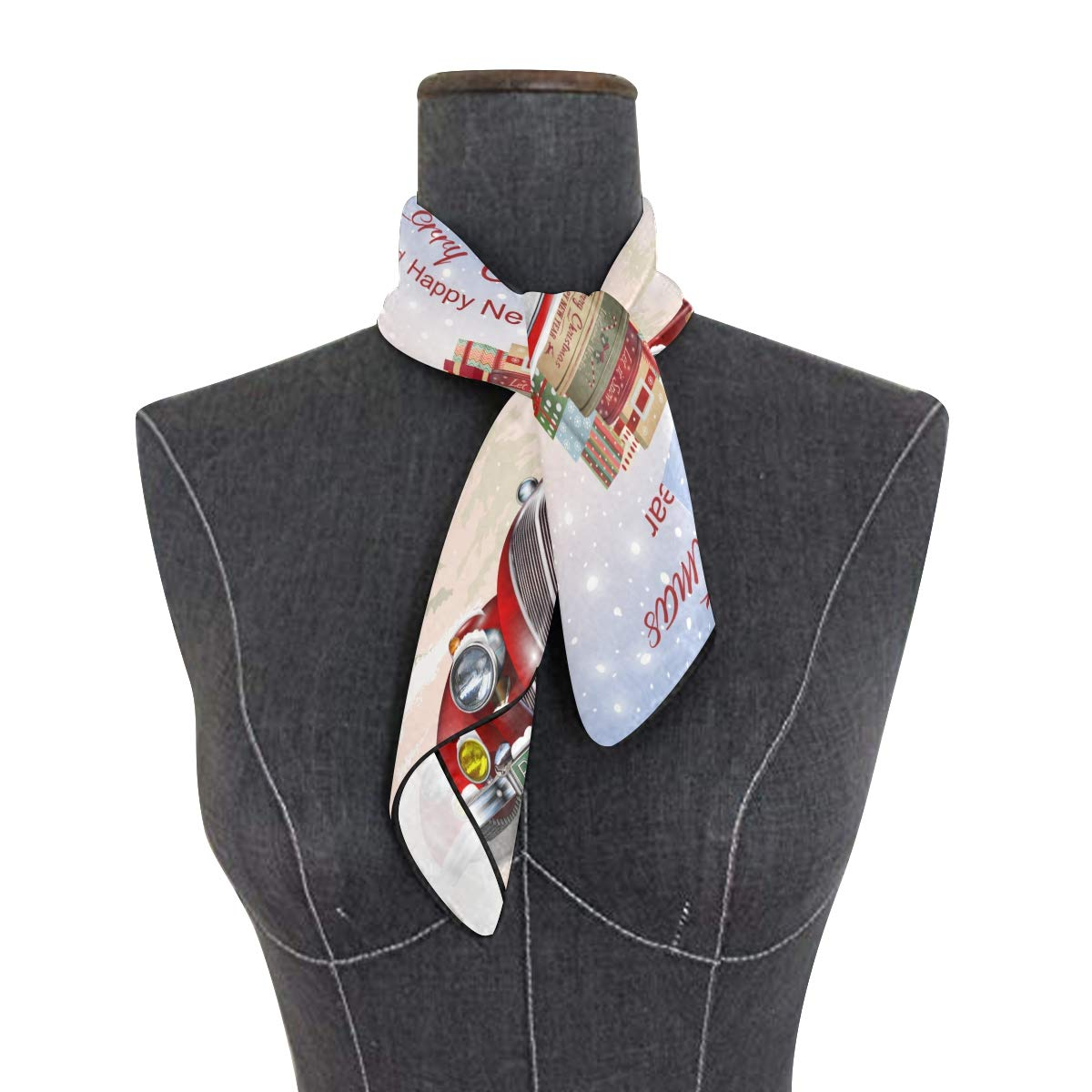 Soft Polyester Silk Hair Scarf Ponytail Fashion Print Cute Santa Claus Gift Car Neckerchief Scarfs For Women Womans Scarves Scarves Ladies Multiple Ways Of Wearing Daily Decor