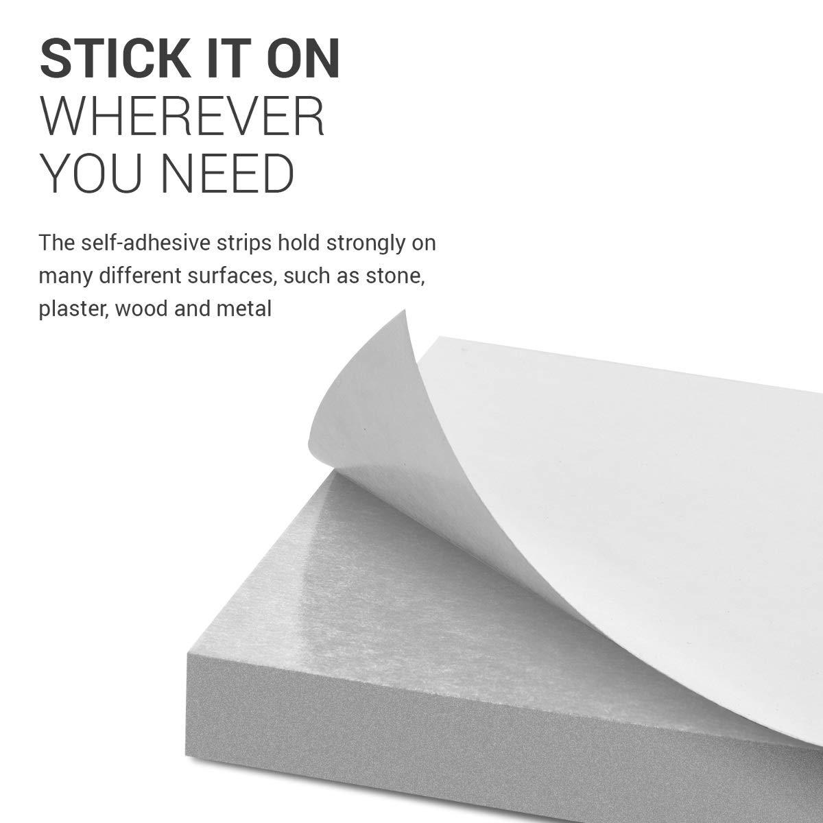 Blanc 4X Plaque Pare-Choc Porti/ère Voiture Bande Autocollante pour Mur 40 x 12 x 1,5 cm kwmobile Mousse Protection Garage
