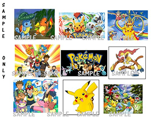 9 Pokemon stickers, favors, party supplies, labels, birthday, Treat Bag Fillers