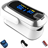 mibest Silver Dual Color OLED Finger Pulse Oximeter - Blood Oxygen Saturation Monitor with Color OLED Screen Display and Included Batteries - O2 Saturation Monitor