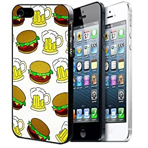Apple iPhone 5/5s Black Plastic Hard Case Design Hipster Teen Food Lover Hamburger And Beer Pattern For iPhone 5/5s