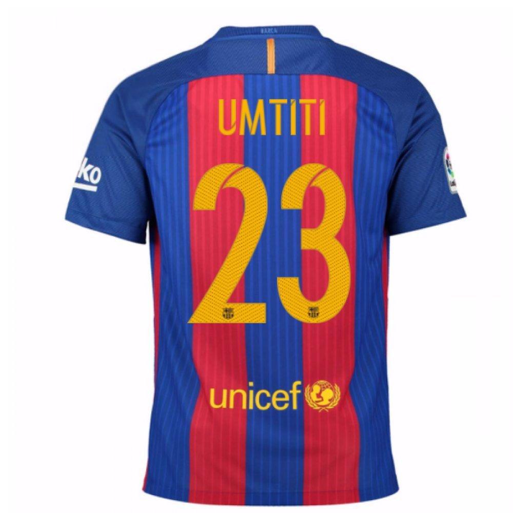 2016-17 Barcelona Home Football Soccer T-Shirt Trikot (Samuel Umtiti 23) - Kids